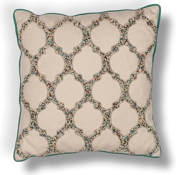 Beige, Teal (L-191) Contemporary / Modern pillow