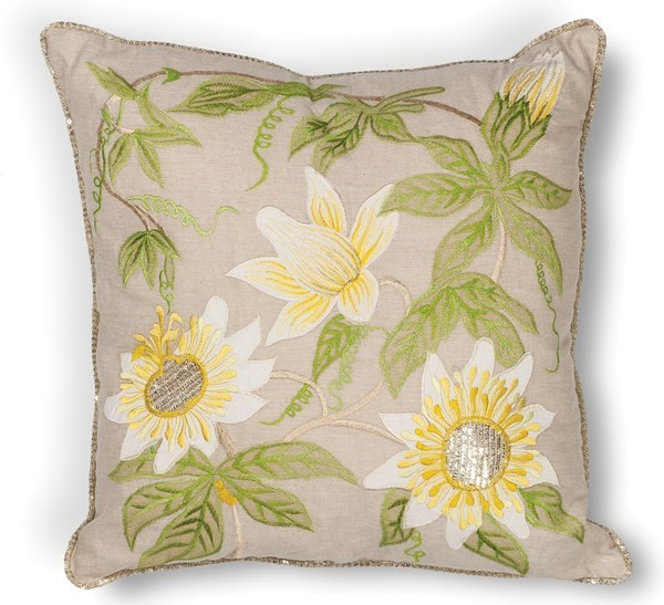 Taupe (L-193) Floral / Botanical pillow