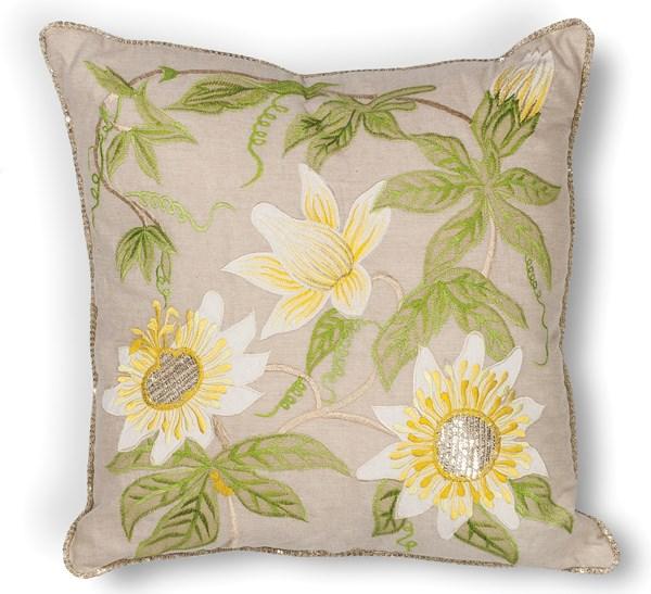 Taupe (L-193) Floral / Botanical pillow
