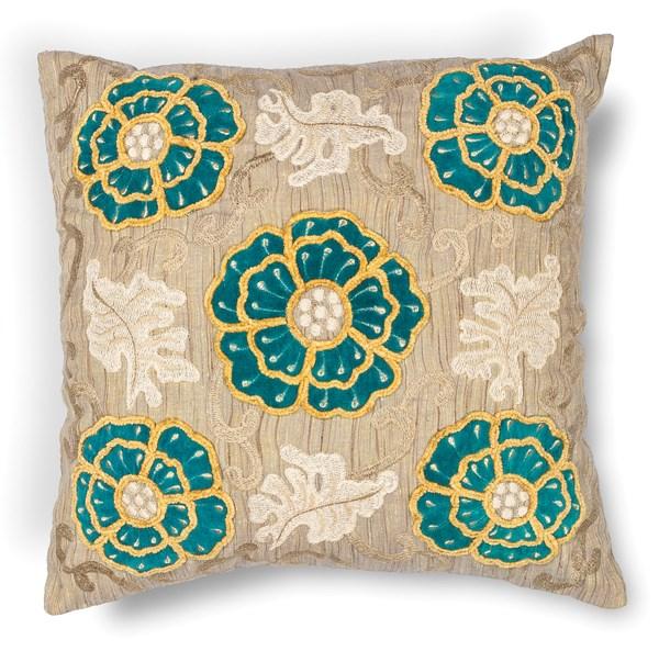 Taupe, Teal (L-211) Floral / Botanical pillow