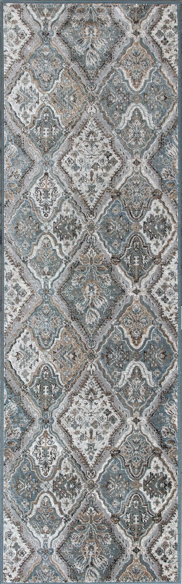 Silver, Blue (8602) Moroccan Area Rug