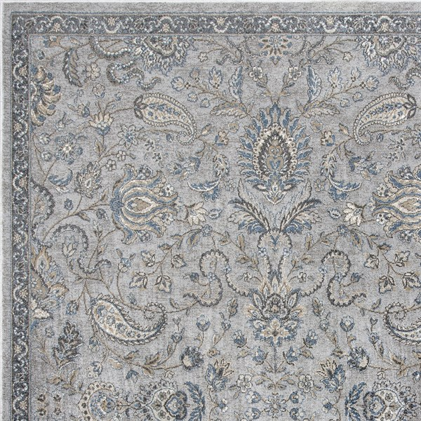 Silver, Blue (8613) Traditional / Oriental Area Rug