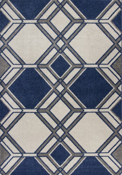 Ivory, Denim (2768) Geometric Area Rug