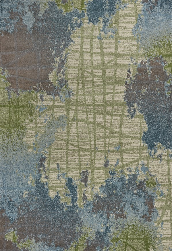 Green, Blue (6207) Abstract Area Rug
