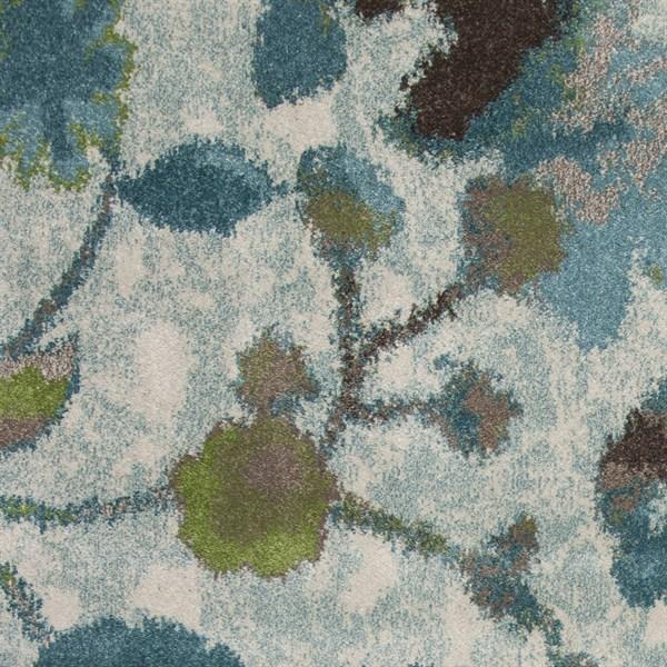 Teal (6258) Floral / Botanical Area Rug