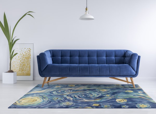 Blue (3003) Abstract Area Rug