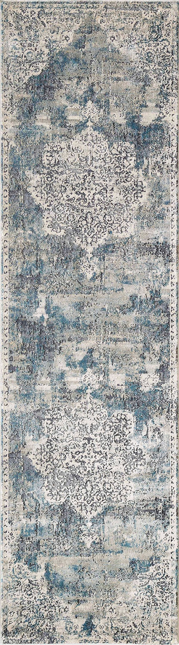 Ivory, Teal (4765) Vintage / Overdyed Area Rug