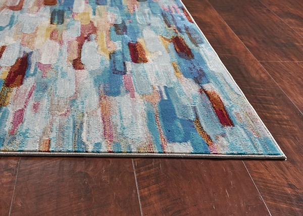 Ivory, Blue (6103) Abstract Area Rug