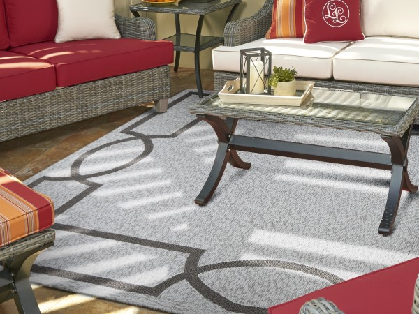 Light Grey, Charcoal (5223) Outdoor / Indoor Area Rug