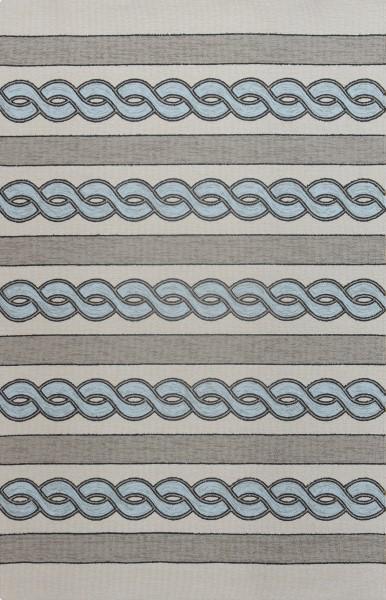 Blue Green, Ivory, Grey (5235) Outdoor / Indoor Area Rug