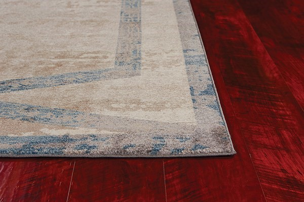 Tan, Teal (LLW-5816) Bordered Area Rug