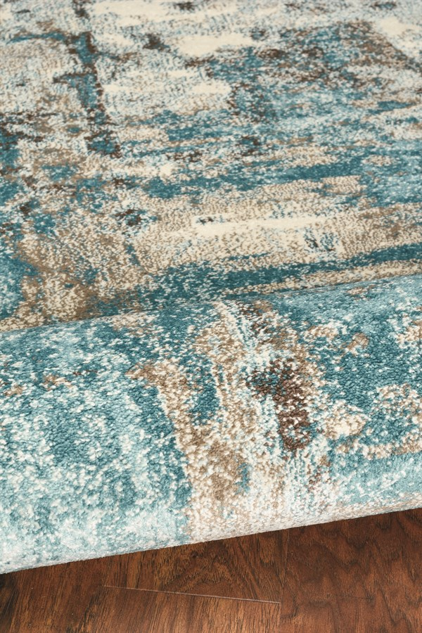 Ivory, Teal (6233) Abstract Area Rug