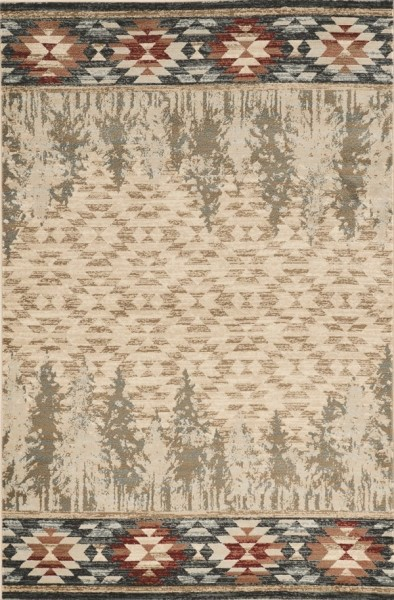 Ivory, Rust (5635) Country Area Rug