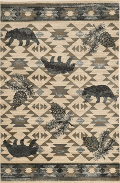 Ivory, Blue (5634) Country Area Rug