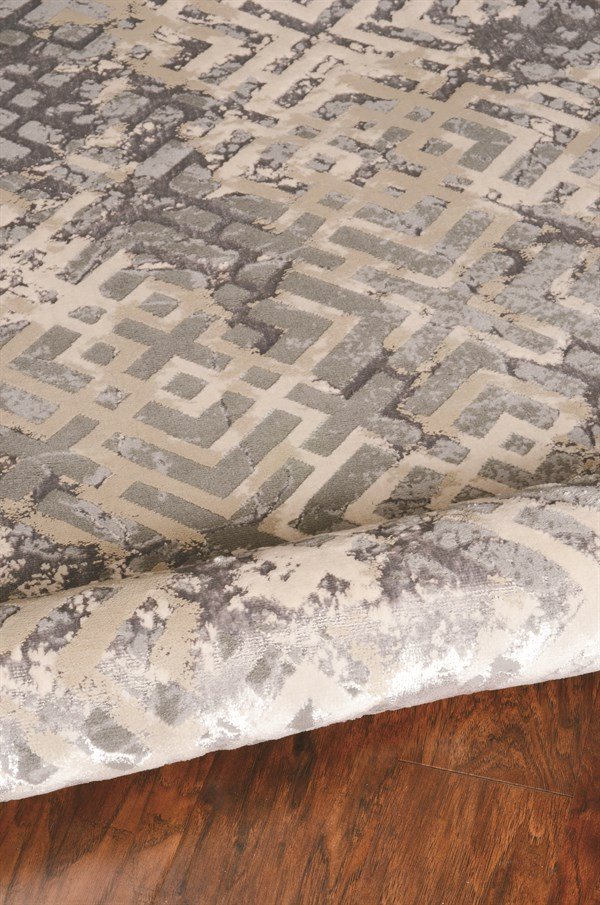 Beige, Silver (7124) Transitional Area Rug
