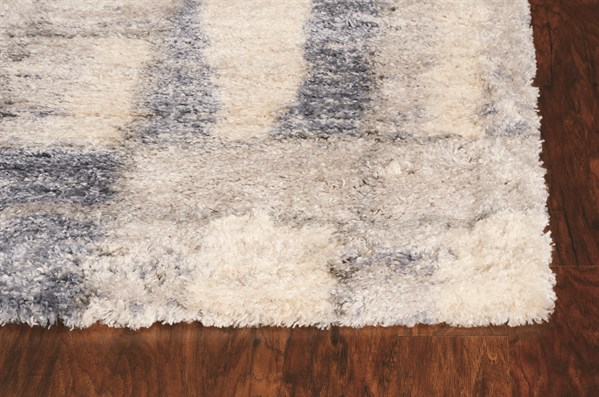 Ivory, Blue Shag Area Rug