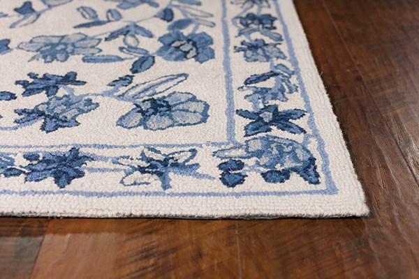 Ivory, Blue (1727) Floral / Botanical Area Rug