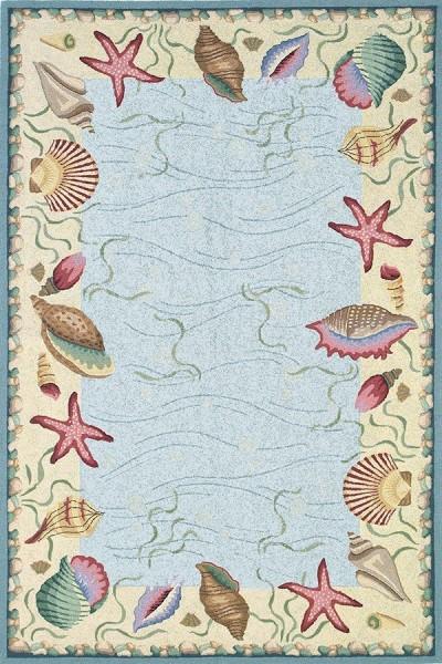 Blue, Ivory (1804) Beach / Nautical Area Rug