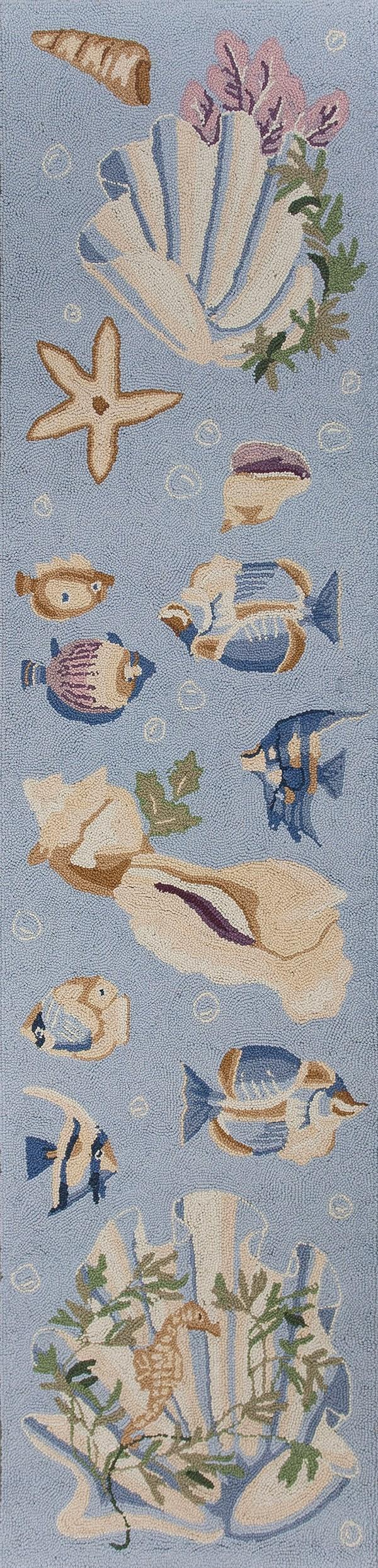 Light Blue (1805) Beach / Nautical Area Rug