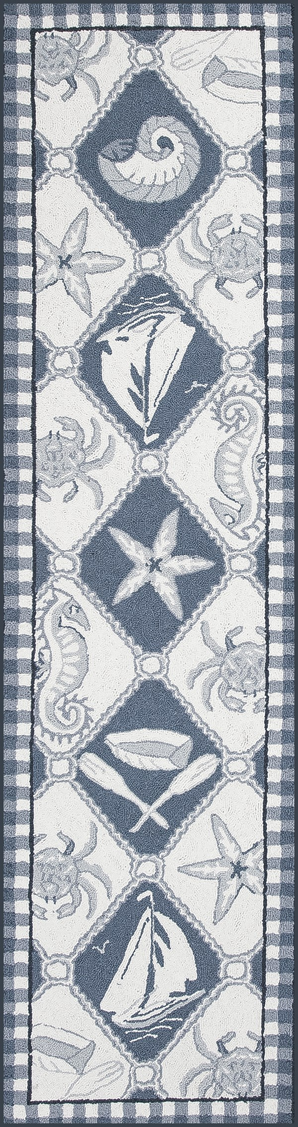Blue, Ivory (1807) Beach / Nautical Area Rug