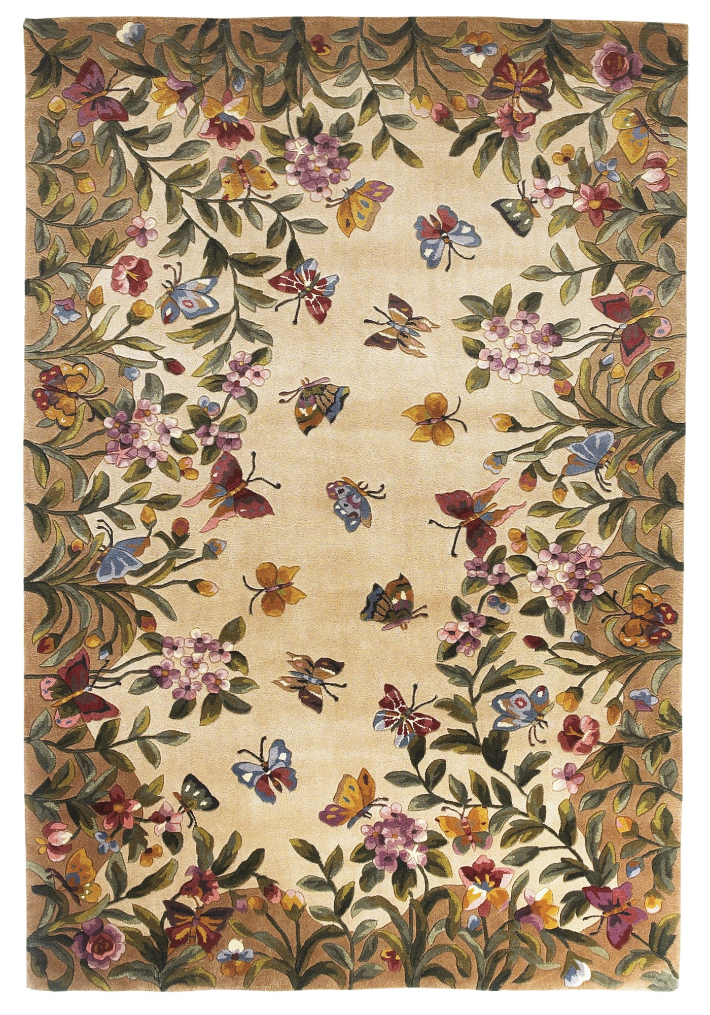 Kas Emerald Butterfly Garden Rug Floral Area Rug Rugs Direct