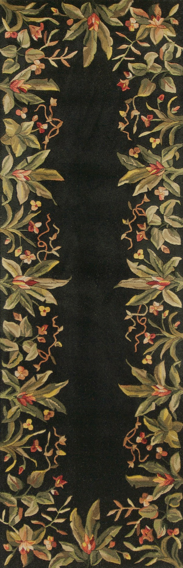 Black (9001) Floral / Botanical Area Rug