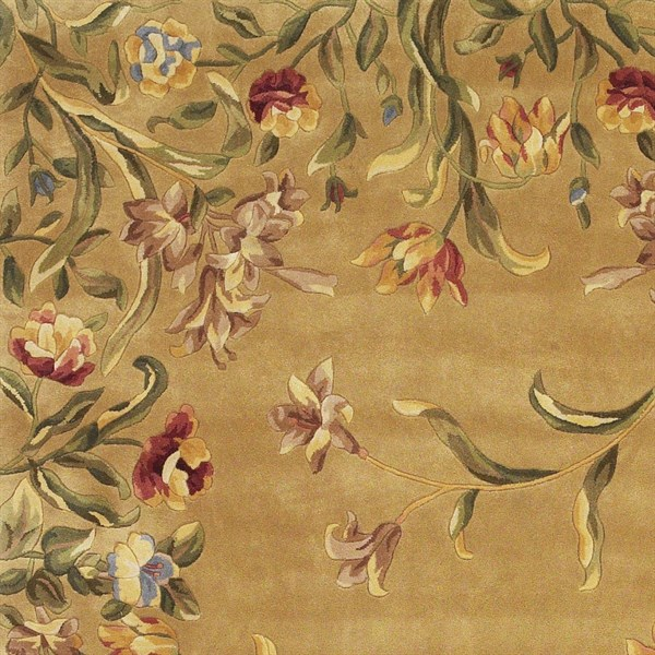 Gold (9080) Floral / Botanical Area Rug