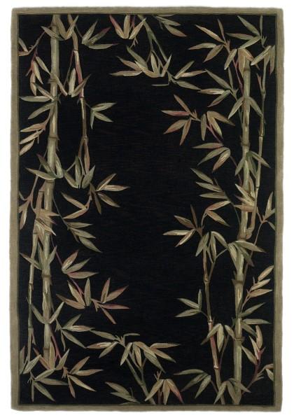 Black (3147) Floral / Botanical Area Rug