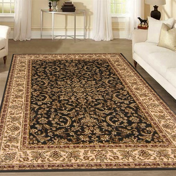 Black Traditional / Oriental Area Rug
