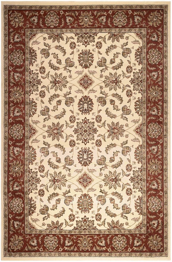 Ivory, Brick  Traditional / Oriental Area Rug