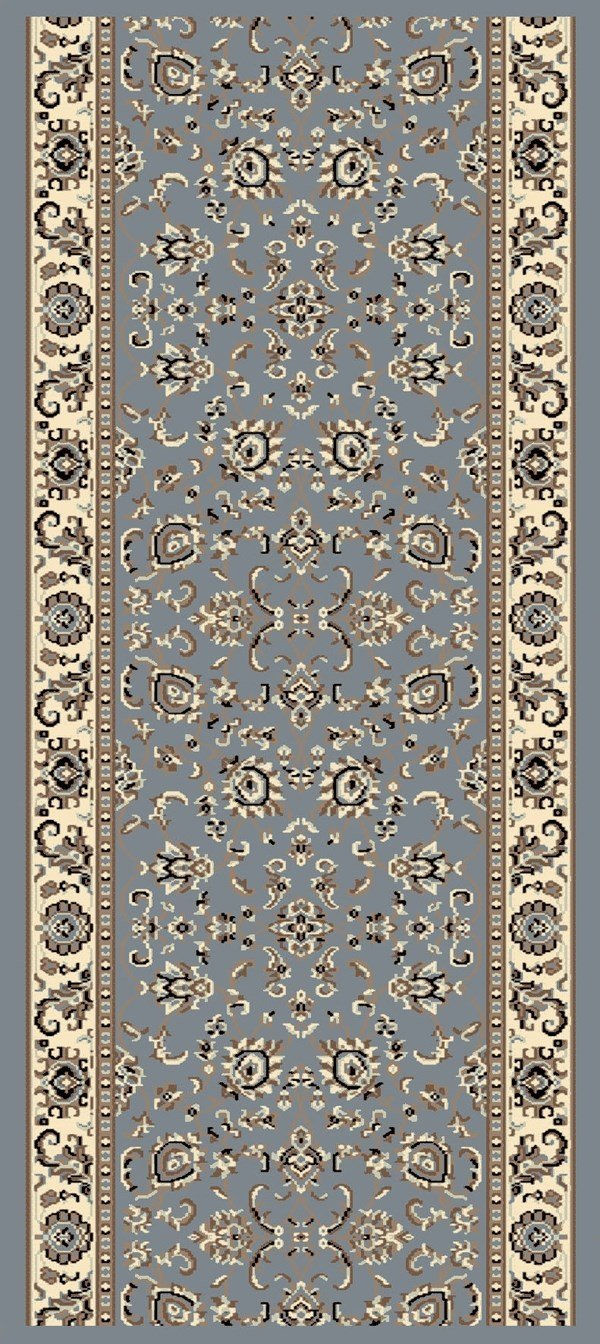 Grey Blue Traditional / Oriental Area Rug