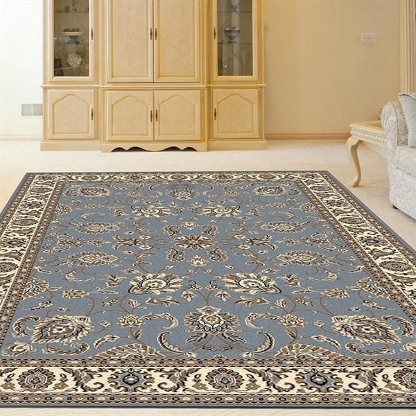 Grey Blue Traditional / Oriental Area Rug