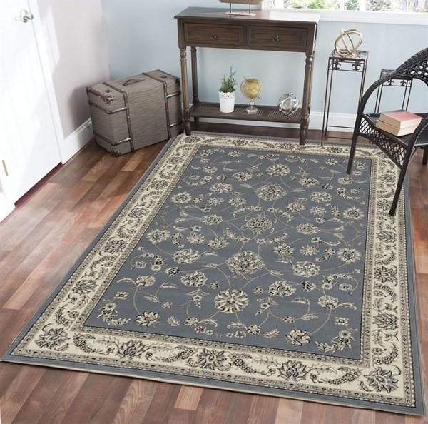 Grey, Blue Traditional / Oriental Area Rug