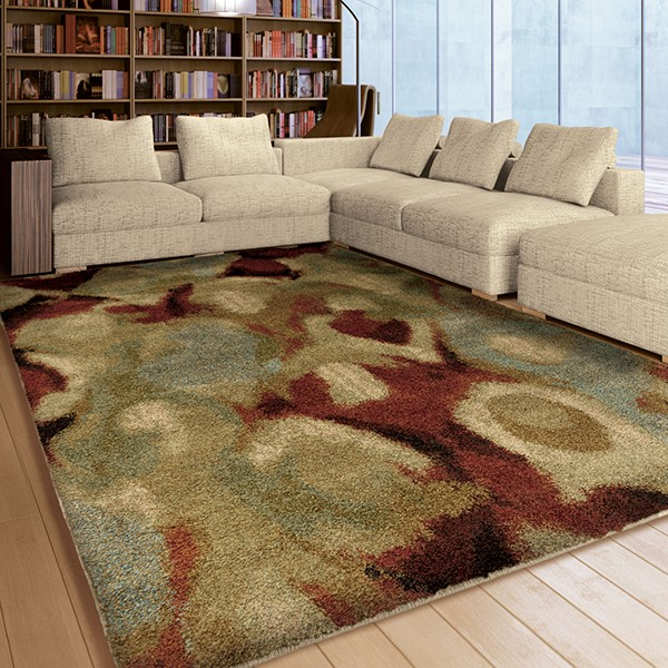 Beige, Ivory, Blue, Green (1685) Contemporary / Modern Area Rug