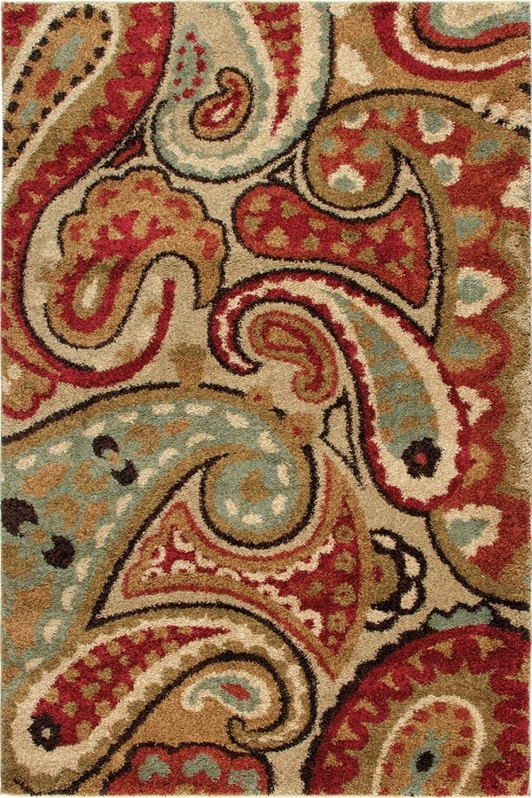 Tan, White, Black (1617) Paisley Area Rug