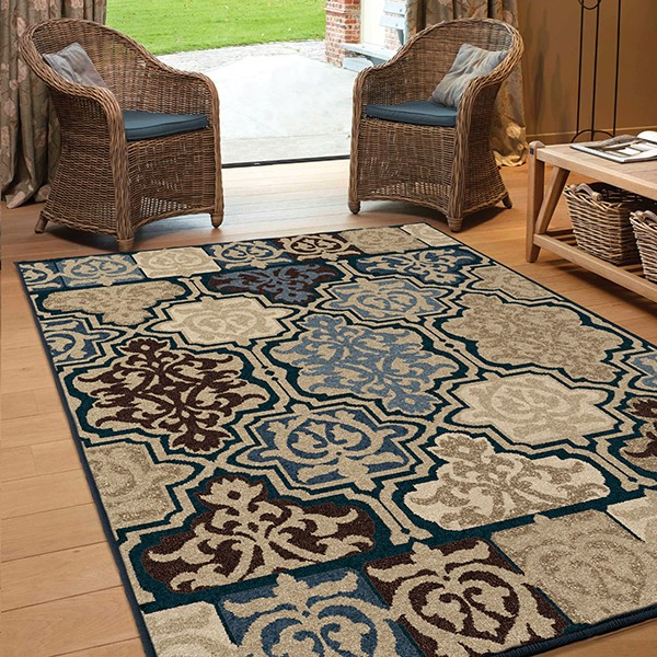 Blue, Navy, Tan (1835) Outdoor / Indoor Area Rug