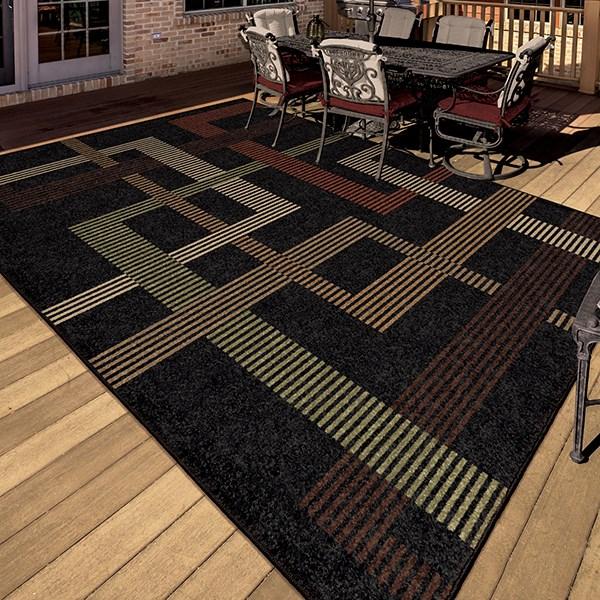 Black, Tan, Ivory (1838) Outdoor / Indoor Area Rug