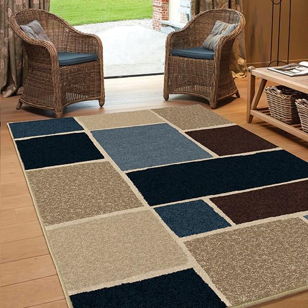Blue, Navy, Brown (1848) Outdoor / Indoor Area Rug
