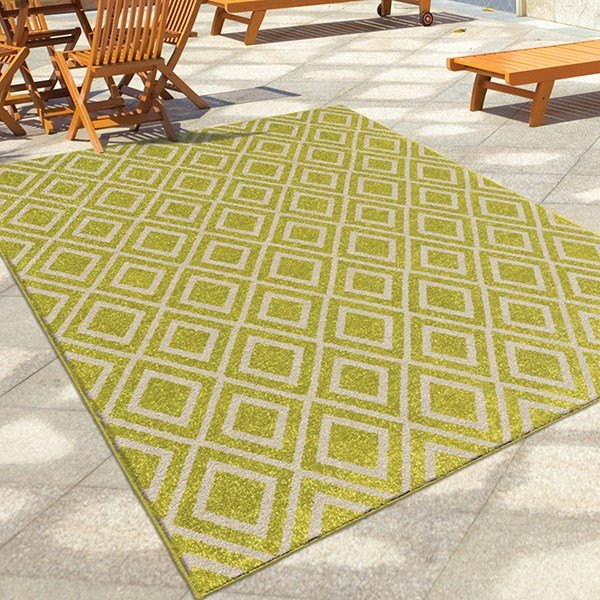 Green, Ivory (2347) Outdoor / Indoor Area Rug