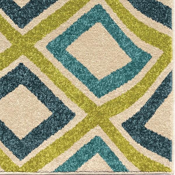 Green, Dark Blue, Ivory (2348) Outdoor / Indoor Area Rug