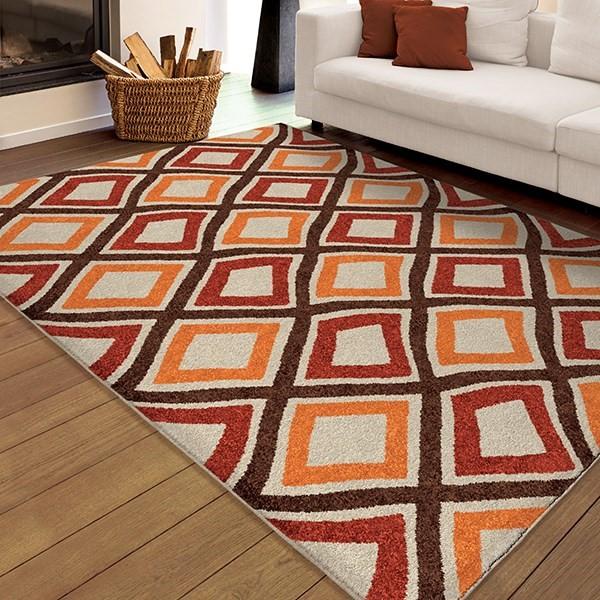 Brown, Ivory, Orange (2349) Outdoor / Indoor Area Rug