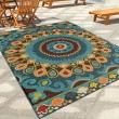 Product Image of Brown, Dark Blue, Orange (2352) Outdoor / Indoor Area Rug