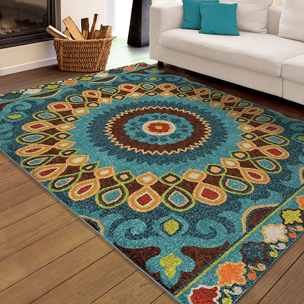 Brown, Dark Blue, Orange (2352) Outdoor / Indoor Area Rug