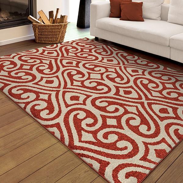 Red, Ivory (2355) Outdoor / Indoor Area Rug