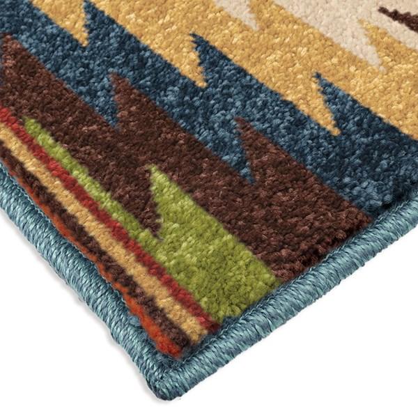 Gold, Dark Blue, Green (2362) Outdoor / Indoor Area Rug
