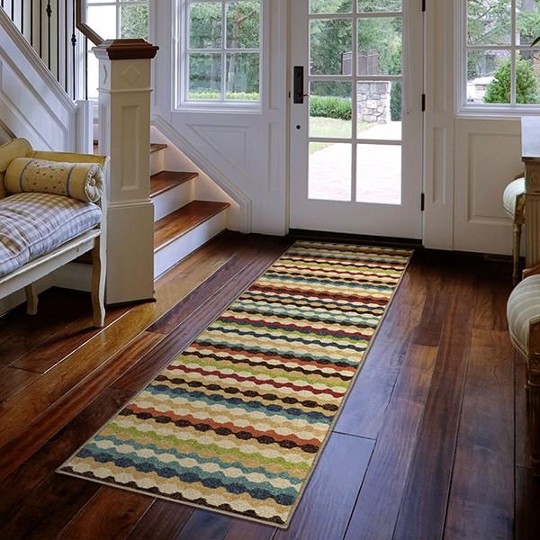 Brown, Green, Red, Ivory (2340) Outdoor / Indoor Area Rug