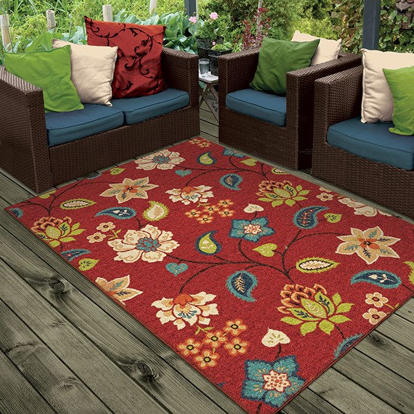 Red, Green, Blue, Ivory (2313) Outdoor / Indoor Area Rug