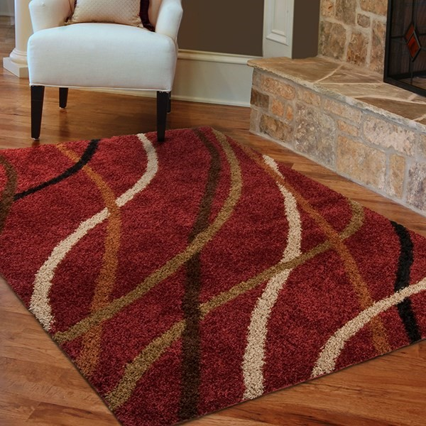 Red, Ivory, Brown, Green (1733) Transitional Area Rug
