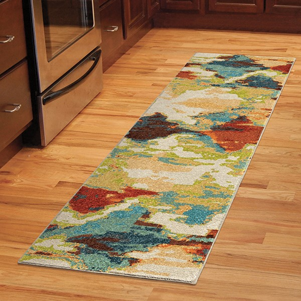 Blue, Orange, Red, Green (2800) Contemporary / Modern Area Rug