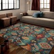 Product Image of Blue, Navy, Red, Brown (2804) Ikat Area Rug